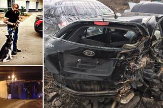 Поврежденный автомобиль потерпевшей, опрокинувшийся грузовик после аварии на МКАД и фотография с личной страницы Игоря Ишаева