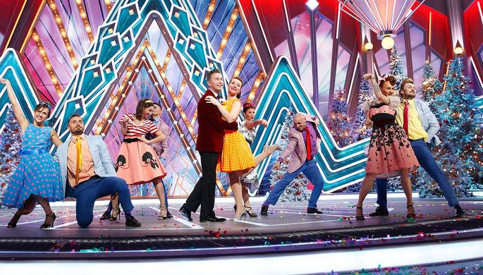 Певец Валерий Сюткин и актриса Екатерина Гусева во время съемок программы «Новогодний голубой огонек» на телеканале «Россия 1»