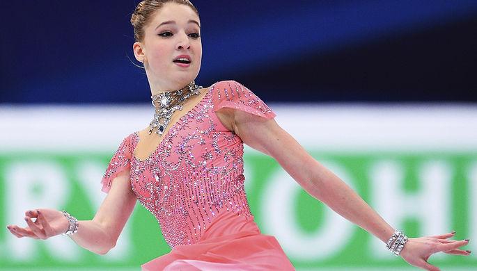 Мария Сотскова (Россия) выступает в короткой программе женского одиночного катания на чемпионате Европы по фигурному катанию в Москве, 18 января 2018 года