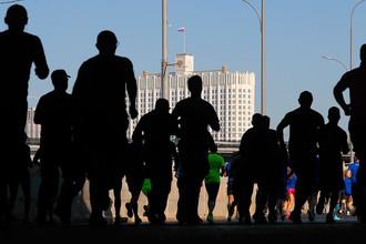 Участник на дистанции Московского марафона 2017