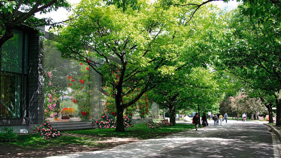 Стеклянный павильон в Ботаническом саду в Монреале