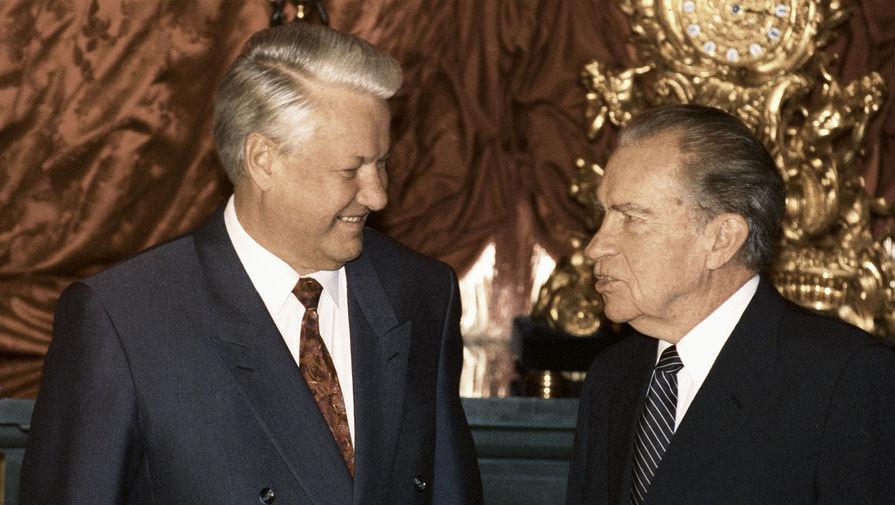 Президент России Борис Ельцин и бывший президент США Ричард Никсон во время встречи в Кремле, 1992 год