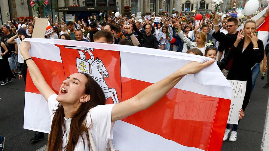 Во время протестов в Минске, 14 августа 2020 года