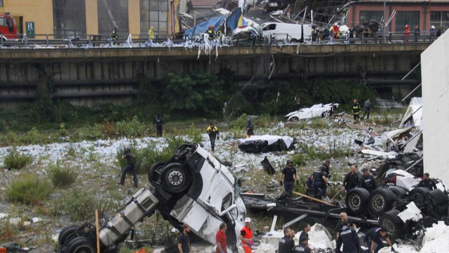 Число погибших при крушении автомобильного моста в Генуе превысило 40