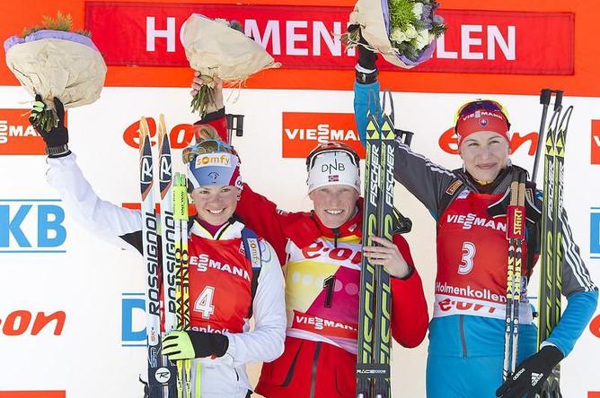 Подиум призеров у женщин (слева направо): Мари Дорен-Абер, Бергер, Анастасия Кузьмина