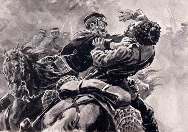 Поединок между японским солдатом и русским казаком