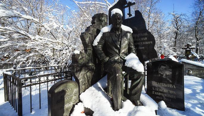 Памятник на могиле криминального авторитета Вячеслава Иванькова (Япончика) на Ваганьковском кладбище, 2019 год