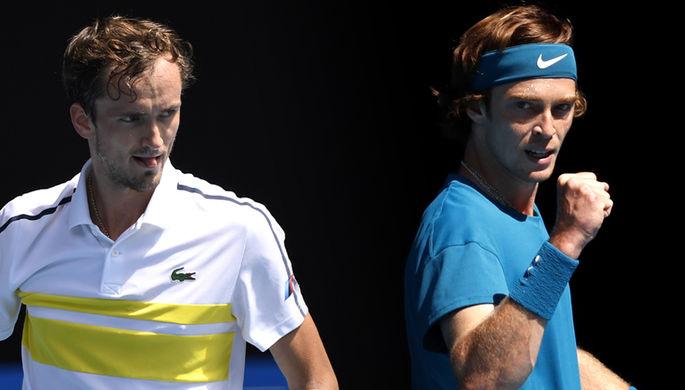 Российские теннисисты Даниил Медведев и Андрей Рублев