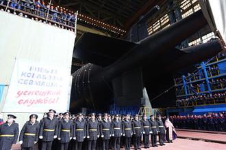 Атомная подводная лодка «Белгород» во время спуска на воду на АО «Производственное объединение «Севмаш» в Северодвинске, 23 апреля 2019 года