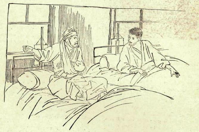Русский и японский солдаты в госпитале. Подпись к рисунку в журнале: «Теперь мы больше не враги»