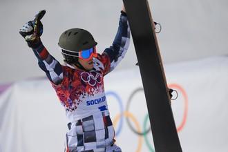 Вик Уайлд после победы в параллельном слаломе на Олимпийских играх в Сочи