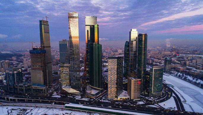 Вид на московский международный деловой центр «Москва-Сити», январь 2019 года
