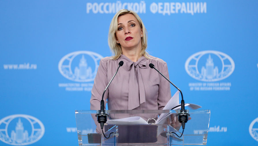 Официальный представитель Министерства иностранных дел России Мария Захарова во время брифинга в Москве, 23 апреля 2020 года