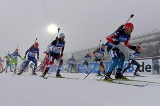 Евгений Гараничев на первом этапе эстафеты в Оберхофе.