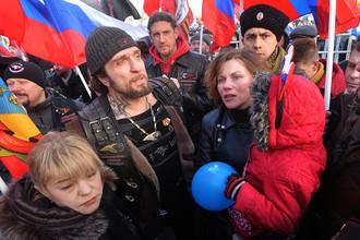 Участники митинга в честь двухлетней годовщины присоединения Крыма к России, март 2016 года