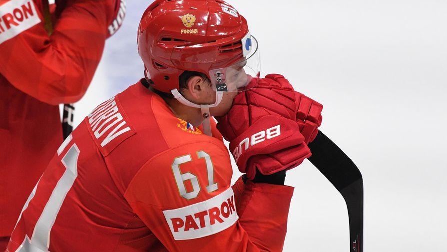 Игрок сборной России Никита Задоров после поражения в полуфинальном мачте чемпионата мира по хоккею между сборными командами России и Финляндии