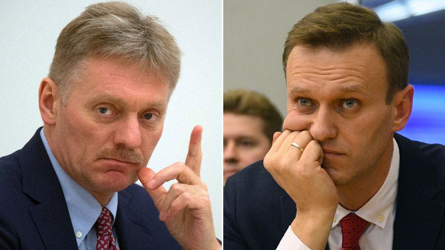 Пресс-секретарь президента Дмитрий Песков и политик Алексей Навальный (коллаж)