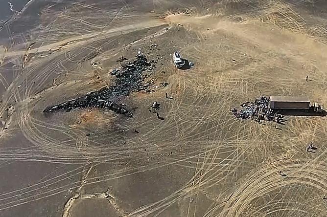 Вид с беспилотного летательного аппарата на место крушения российского самолета