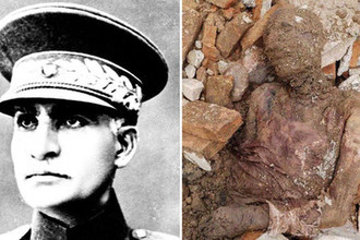 Реза Шах Пехлеви в неустановленное время в неустановленном месте и фотография мумифицированного тела, коллаж «Газеты.Ru»