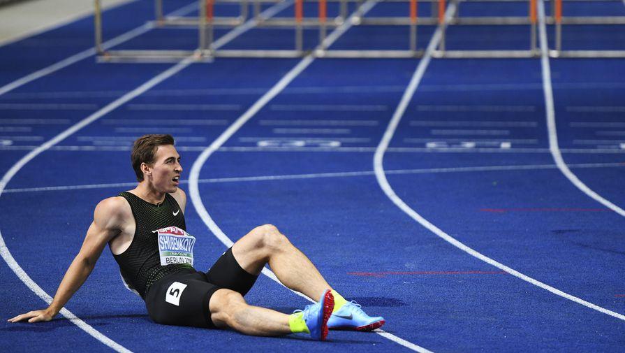 Сергей Шубенков после дистанции забега среди мужчин на 110 м с барьерами на чемпионате Европы по легкой атлетике в Берлине.