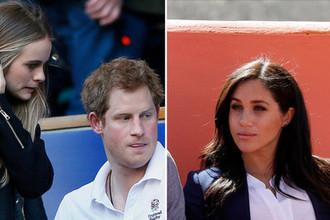 Принц Гарри со своей девушкой Крессидой Бонас в 2014 году и герцогиня Сассекская Меган в 2019 году, коллаж «Газеты.Ru»