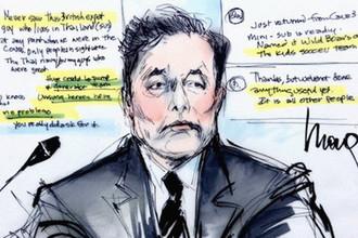 Илон Маск во время заседания суда в Лос-Анджелесе по иску дайвера Верна Ансворта, 4 декабря 2019 года