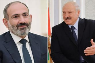 Исполняющий обязанности премьер-министра Армении Никол Пашинян и президент Белоруссии Александр Лукашенко