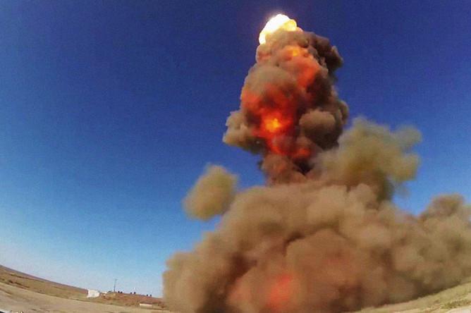 Испытательный пуск новой ракеты российской системы ПРО на полигоне Сары-Шаган в Казахстане, 2018 год