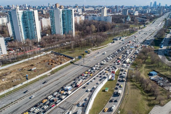 Пробки на Можайском шоссе, 15 апреля 2020 года