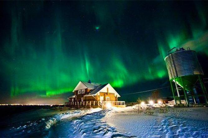 Северное сияние в Архангельске
