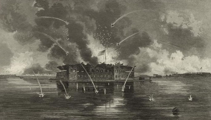 Бомбардировка форта Самтер (1861) работы Джорджа Эдварда Перина