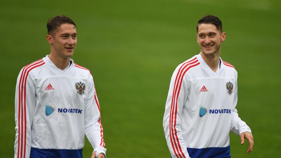 Антон и Алексей Миранчуки во время тренировки сборной России в Австрии