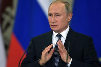 Президент России Владимир Путин во время встречи с премьер-министром Италии Джузеппе Конте в Москве, 24 октября 2018 года