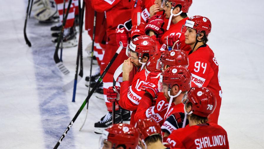 Игроки сборной России после окончания матча группового этапа чемпионата мира по хоккею 2021 между сборными командами Словакии и России, 24 мая 2021 года
