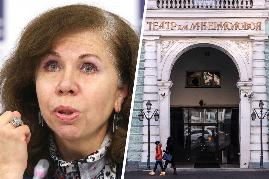 Актриса Елена Папанова и здание Московского драматического театра имени М. Н. Ермоловой вМоскве.