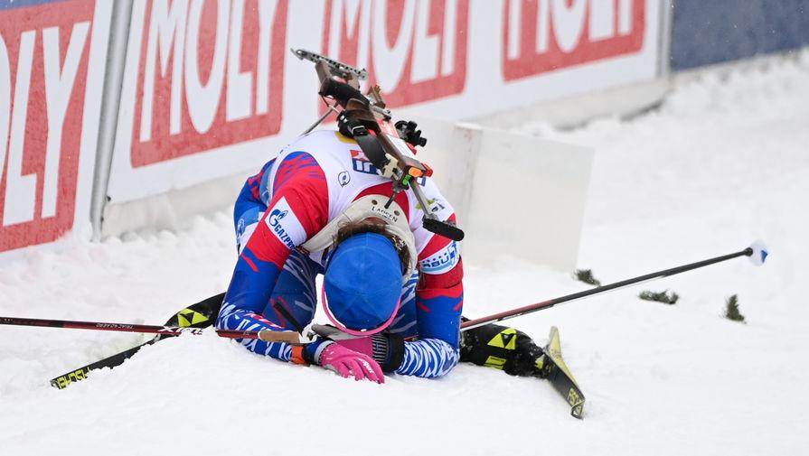 Светлана Миронова после финиша своего этапа смешанной эстафеты на чемпионате мира по биатлону в словенской Поклюке