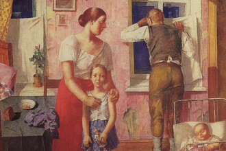 Фрагмент репродукции картины Петрова-Водкина «1919 год. Тревога»