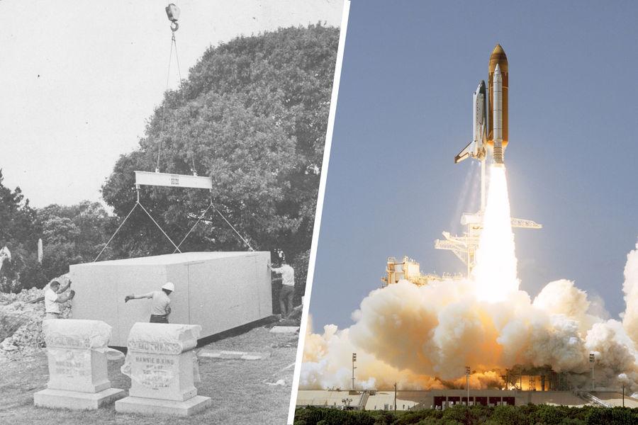 Ящик савтомобилем «Феррари», внутри которого находится тело Сандры Вест и 13-й космический полёт шаттла Колумбия, накотором побывал прах Джина Родденберри в1997 году
