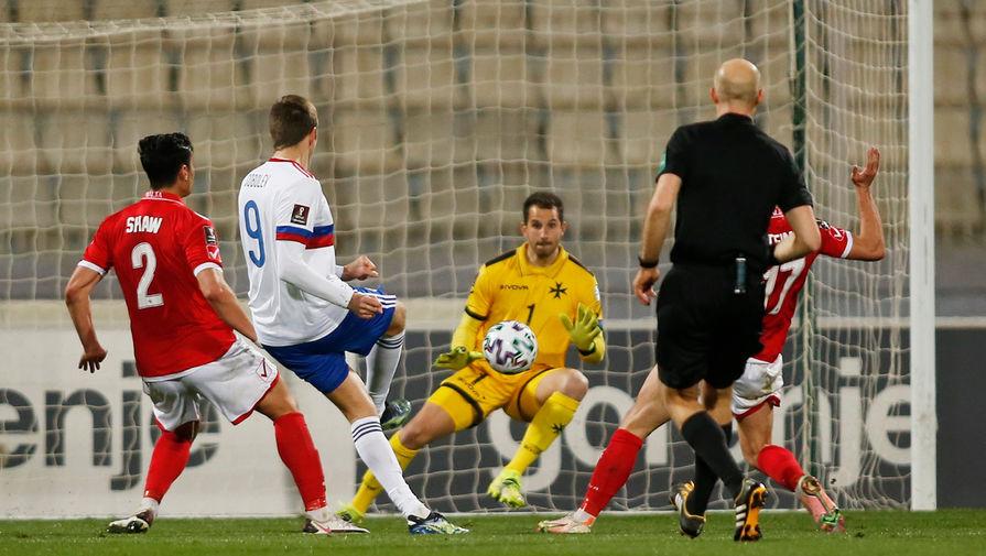 Во время 1-го тура отборочного этапа чемпионата мира — 2022 между сборными Мальты и России, 24 марта 2021 года