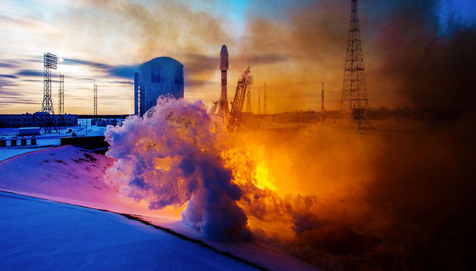 Во время запуска ракеты-носителя «Союз-2.1б» с разгонным блоком «Фрегат» с...
