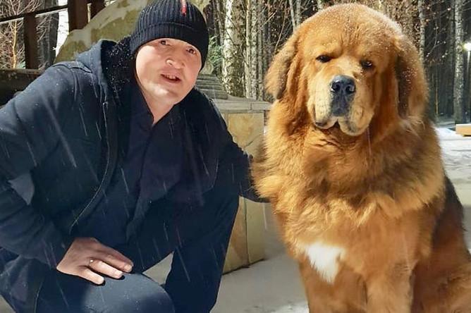 Боксер Денис Лебедев со своей собакой