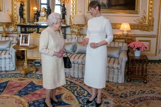 Королева Елизавета II и президент Эстонии Керсти Кальюлайд