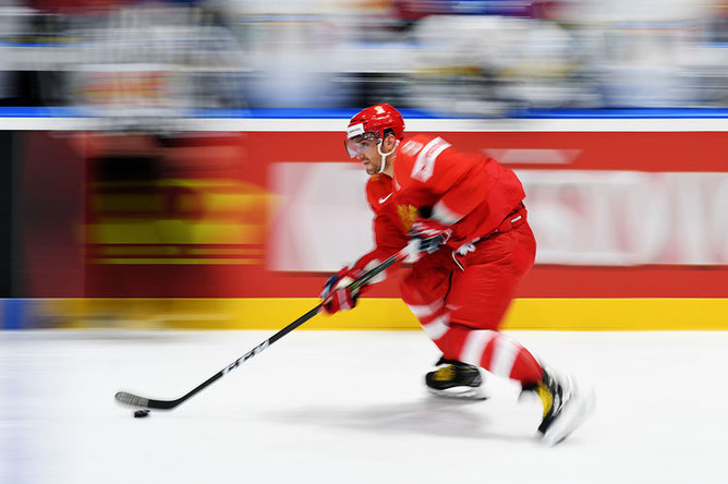 Игрок сборной России Александр Овечкин в матче группового этапа чемпионата мира по хоккею между сборными командами России и Италии, 15 мая 2019 года