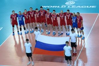 Сборная России перед началом матча в Сутргуте