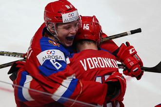 Игроки молодежной сборной России по хоккею