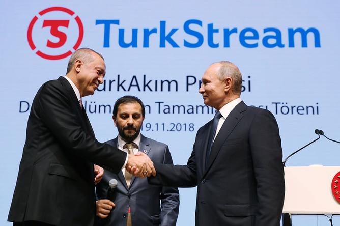 Президент Турции Реджеп Тайип Эрдоган и президент России Владимир Путин во время церемонии завершения строительства морского участка газопровода «Турецкий поток» в Стамбуле, 19 ноября 2018 года