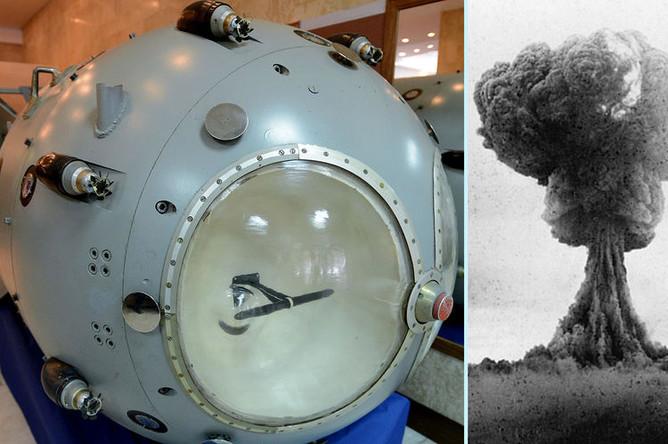 Слева первая советская атомная бомба РДС-1 в музее Российского федерального ядерного центра и ядерный гриб наземного взрыва РДС-1 29 августа 1949 года (справа)