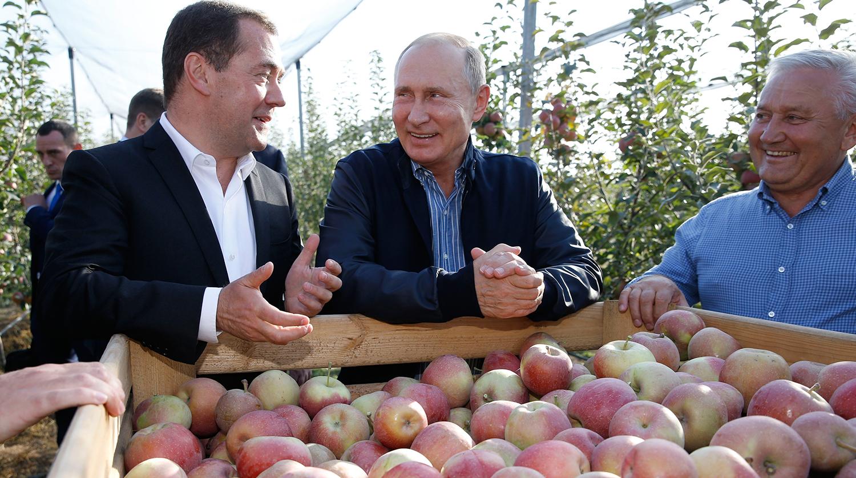 Президент России Владимир Путин и председатель правительства Дмитрий Медведев во время осмотра...