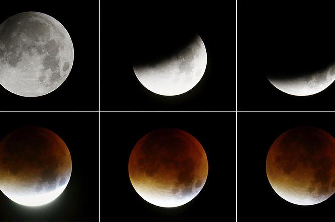 Этапы полного лунного затмения в небе Франкфурта