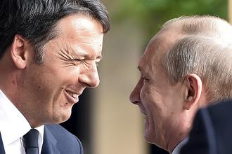 Премьер-министр Италии Маттео Ренци и президент России Владимир Путин на выставке Expo 2015 в Милане